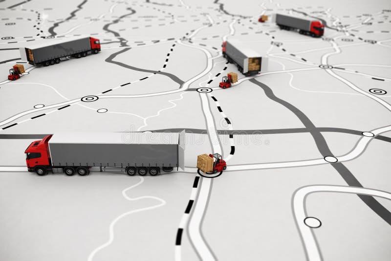 Het laden en het leegmaken goederen op een kaart het 3d teruggeven stock illustratie