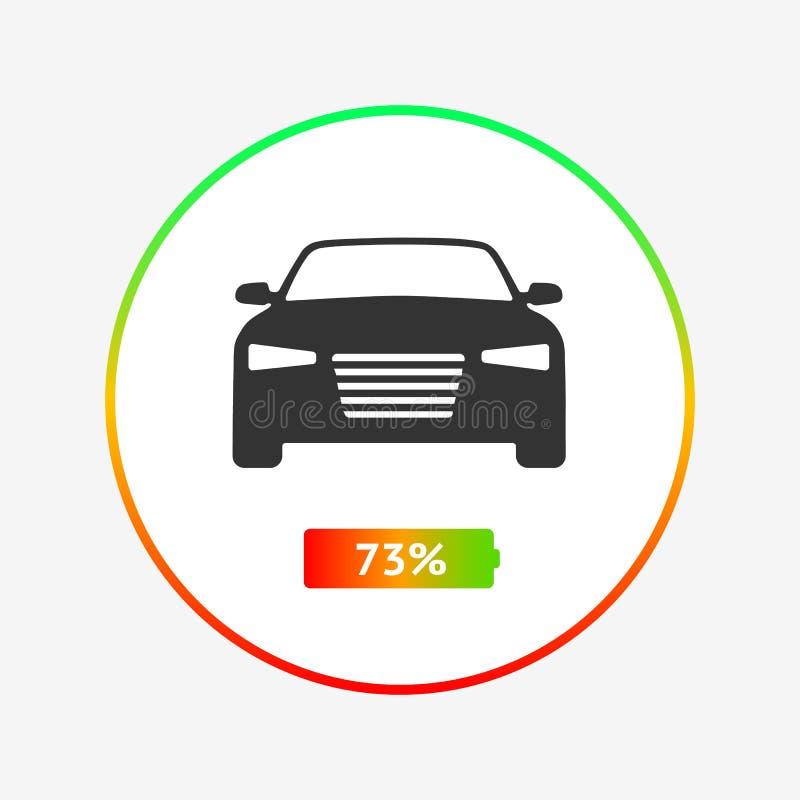 Het laden status van uw elektrisch auto vlak pictogram De acculading van een elektrisch voertuig in procenten vector illustratie