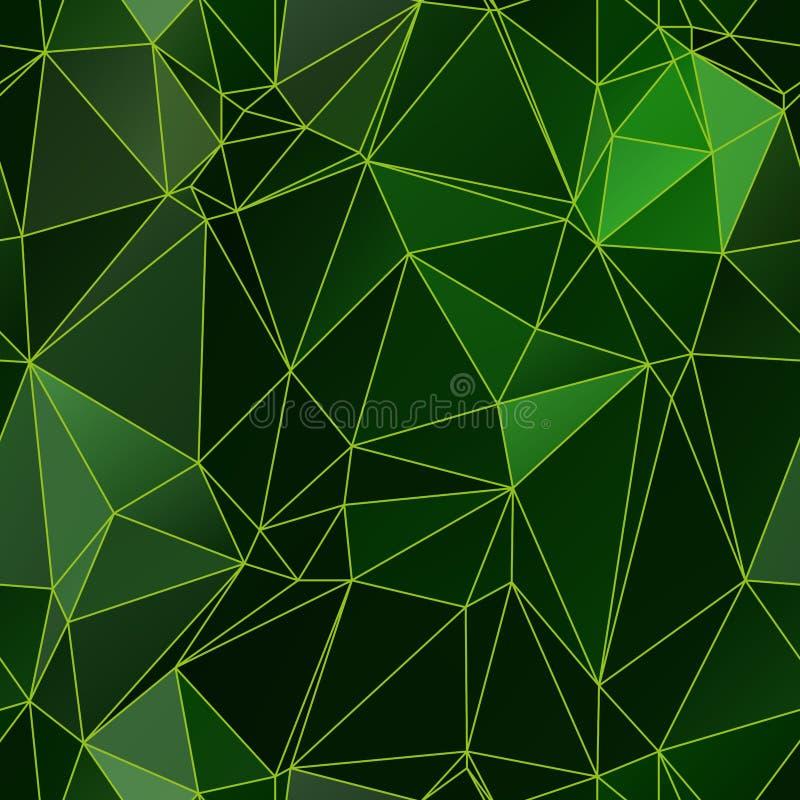 Het lage naadloze patroon van veelhoekdriehoeken in groene kleuren vector illustratie