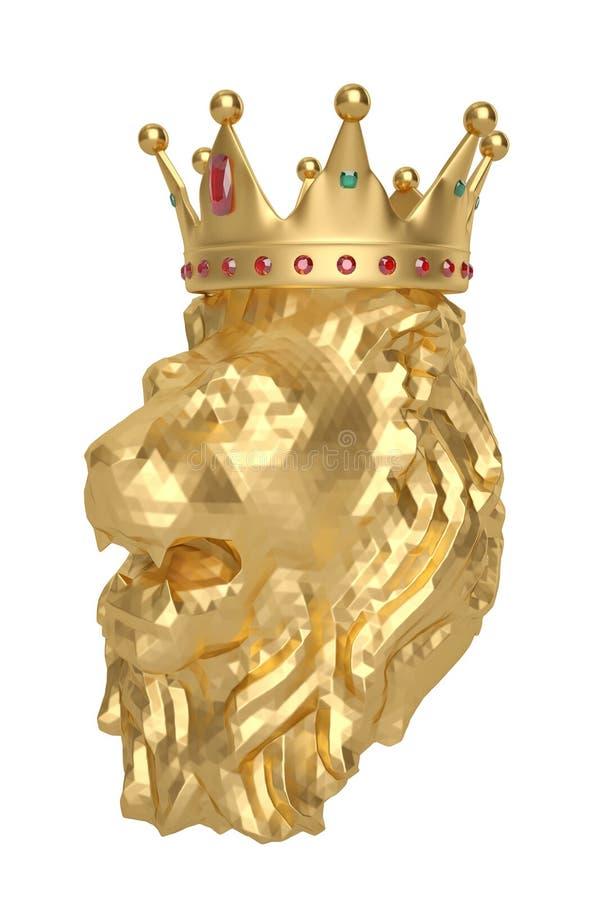 Het lage polyhoofd van de stijl gouden leeuw met kroon 3D Illustratie vector illustratie