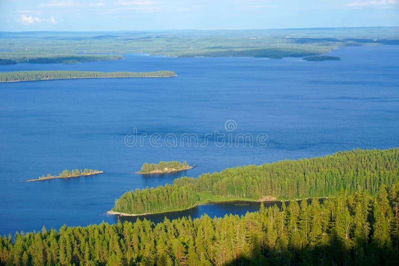 Het Lake District Pielinen, Koli, Finland stock foto's