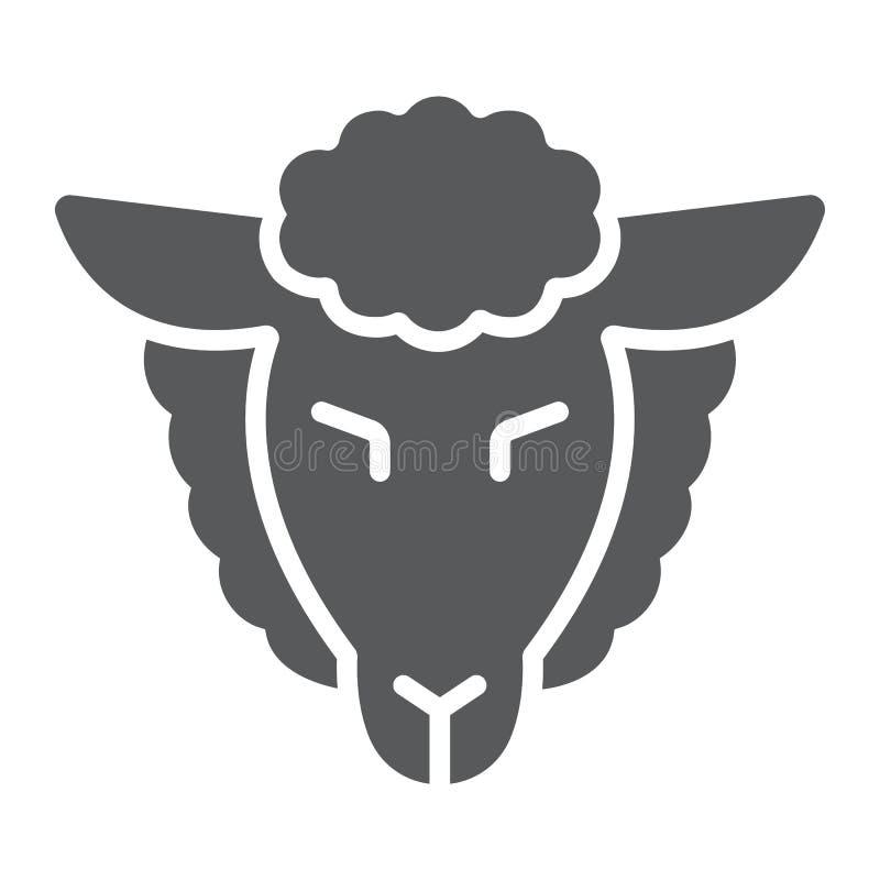 Het lam van gods glyph pictogram, Joods en dierlijk, schapen ondertekent, vectorafbeeldingen, een stevig patroon op een witte ach vector illustratie