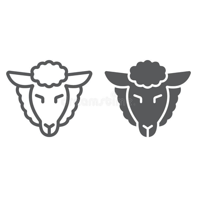 Het lam van godslijn en glyph pictogram, Joods en dierlijk, schapen ondertekent, vectorafbeeldingen, een lineair patroon op een w vector illustratie