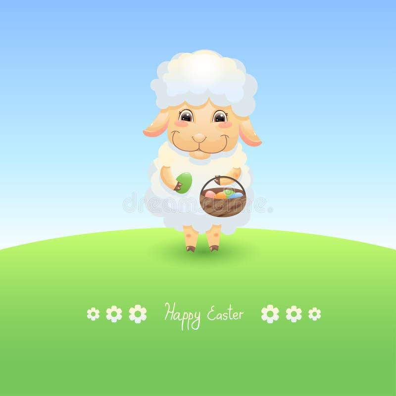 Het lam van Pasen met mand royalty-vrije illustratie