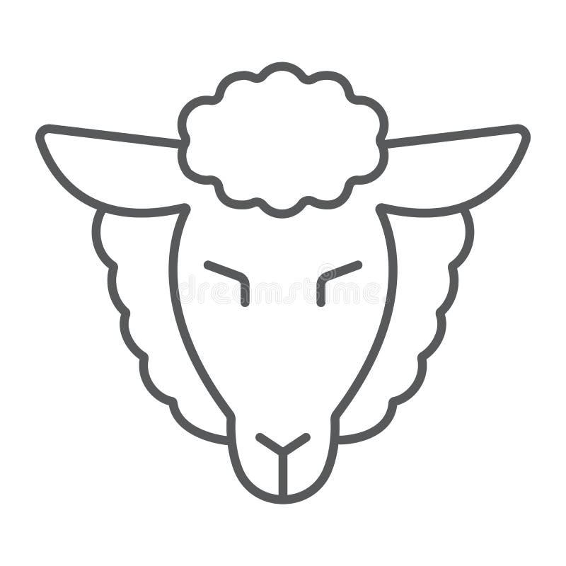 Het lam van pictogram van de gods het dunne lijn, Joods en dierlijk, schapen ondertekent, vectorafbeeldingen, een lineair patroon stock illustratie