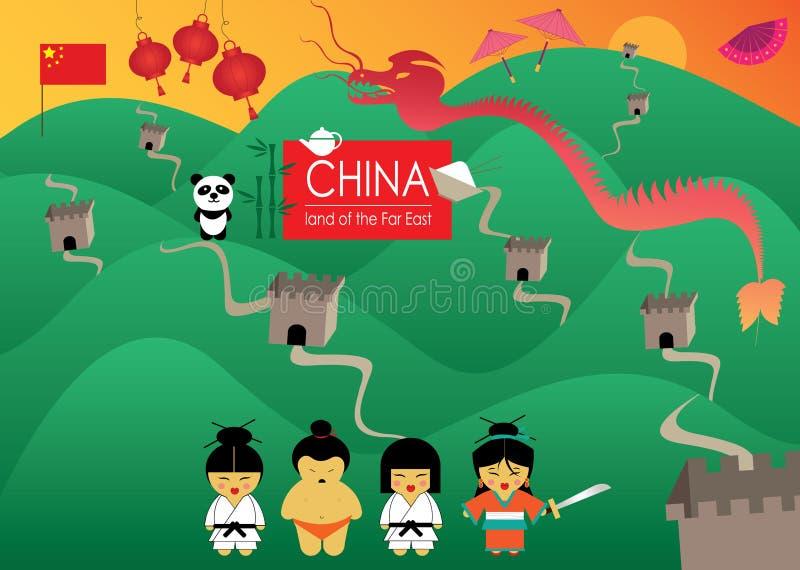 Het land van China van het Verre Oosten met mooie illustraties stock illustratie