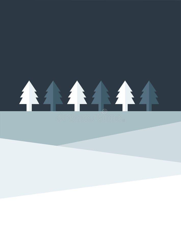 Het land van de kerstnachtboom Eenvoudig vlak ontwerp stock illustratie