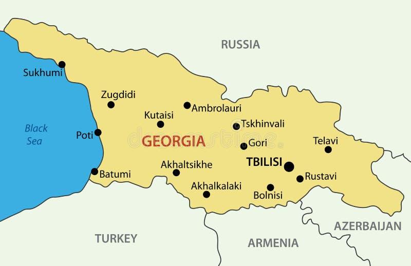 Het land van Georgië - vectorkaart royalty-vrije illustratie