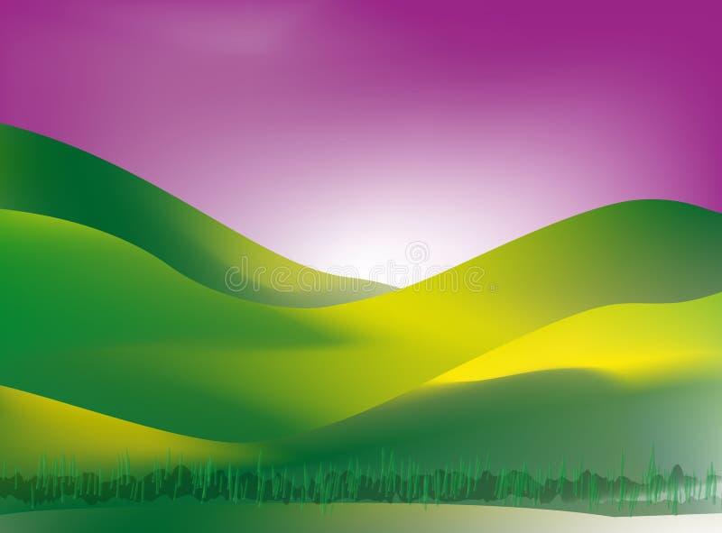 Het land van het gras bij zonsondergang vector illustratie