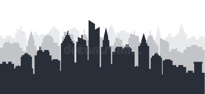 Het land van het stadssilhouet scape Horizontaal Stadslandschap De Horizon van de binnenstad met hoge wolkenkrabbers industriële  royalty-vrije illustratie