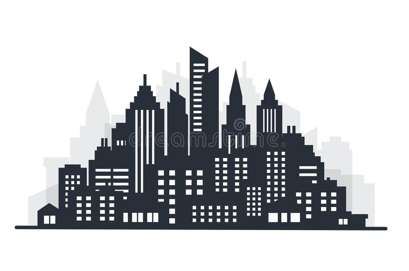 Het land van het stadssilhouet scape Het landschap van de stad Het landschap van de binnenstad met hoge wolkenkrabbers De Overhei royalty-vrije illustratie