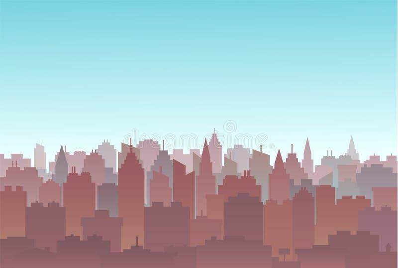 Het land van het stadssilhouet scape Het landschap van de stad Het landschap van de binnenstad met hoge wolkenkrabbers De Overhei stock illustratie