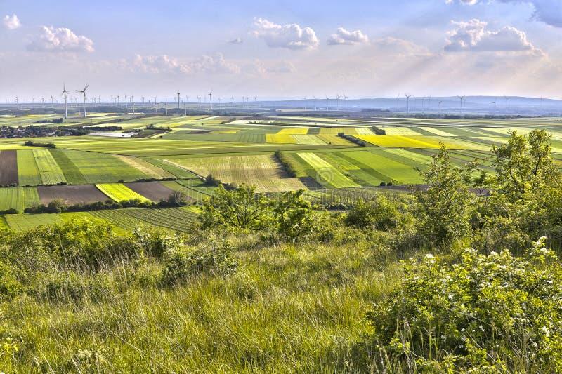 Het land van windmolengebieden royalty-vrije stock afbeeldingen