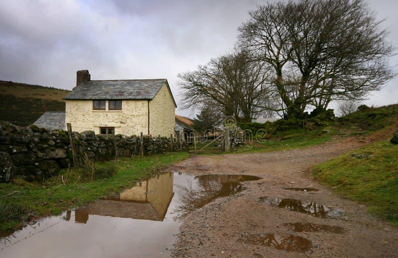 Het landbouwbedrijf Dartmoor Devon van Crockern stock afbeeldingen