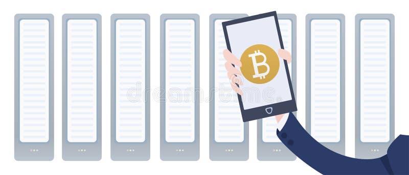 Het landbouwbedrijf en smartphone van de Cryptocurrencymijnbouw ter beschikking Mobiele bitcoinportefeuille app Vectorillustratie vector illustratie