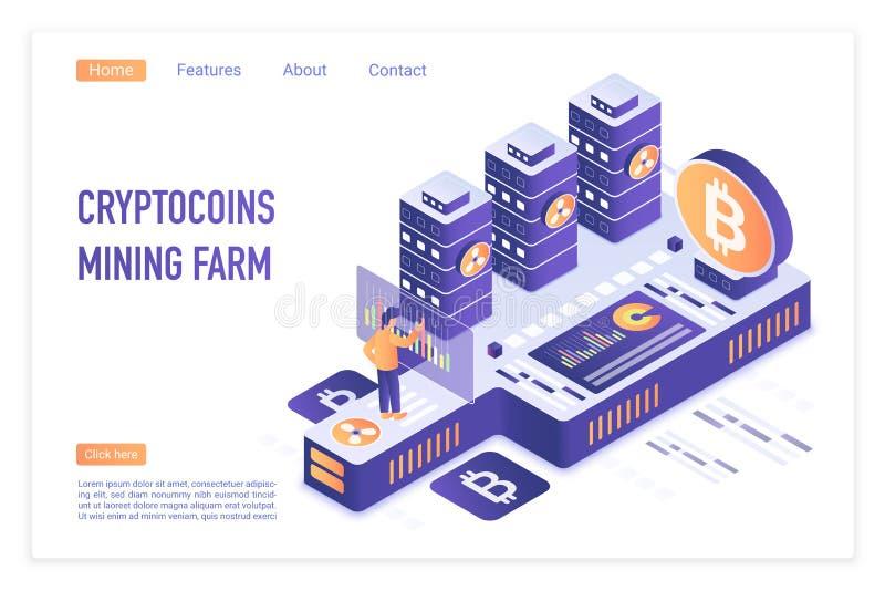 Het landbouwbedrijf van de Cryptocurrencymijnbouw Bitcoin financiële transacties, Digitale munt Crypto mijnbouw, blockchain 3d co stock illustratie