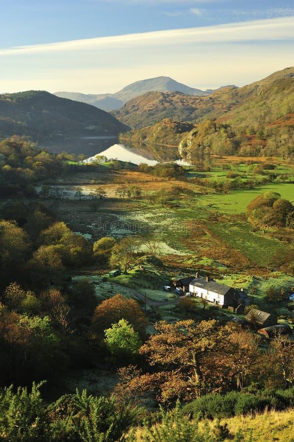 Het landbouwbedrijf van de vallei van Gynant van Nant, Snowdonia, Noord-Wales royalty-vrije stock afbeeldingen