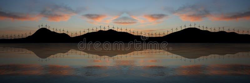 Het Landbouwbedrijf van de wind bij Zonsondergang vector illustratie