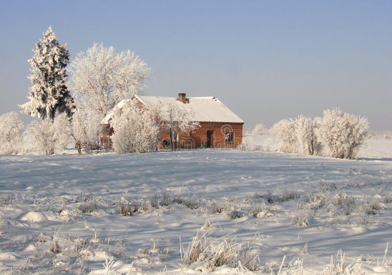 Het landbouwbedrijf van de winter royalty-vrije stock afbeelding