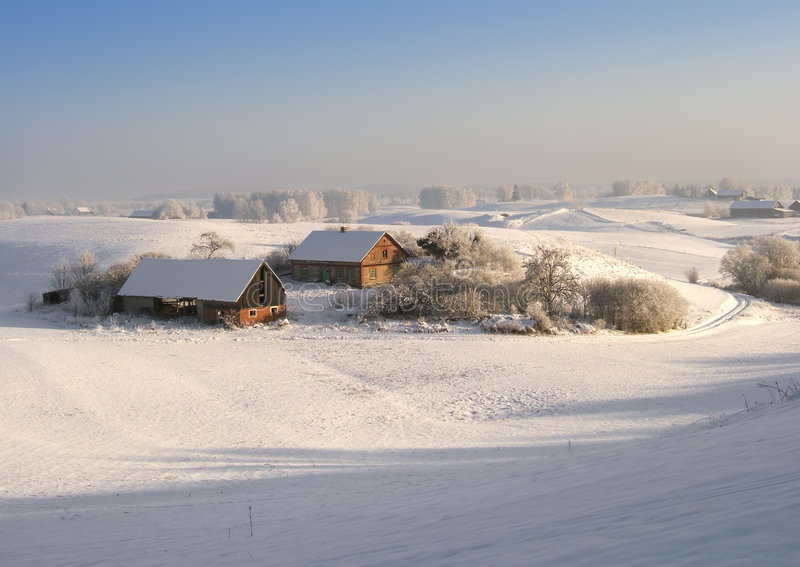 Het landbouwbedrijf van de winter royalty-vrije stock afbeeldingen