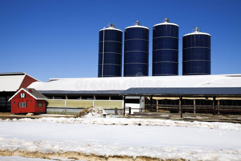 Het Landbouwbedrijf van midwesten in de winter stock foto's