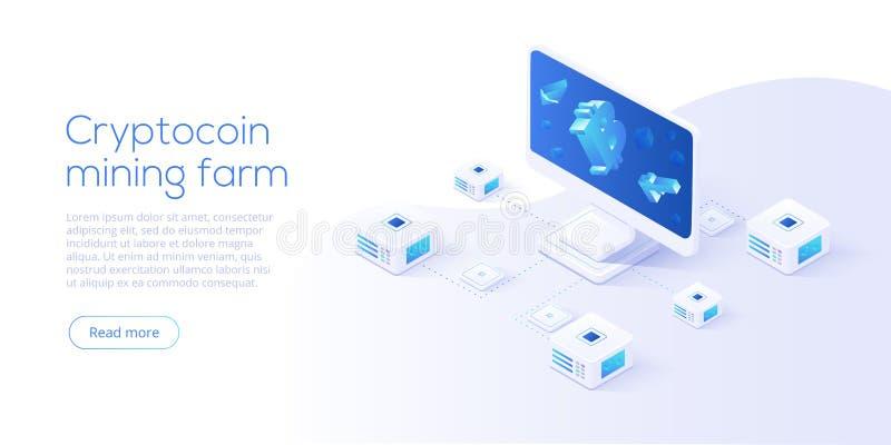 Het landbouwbedrijflay-out van de Cryptocoinmijnbouw Cryptocurrency en blockchain netto vector illustratie
