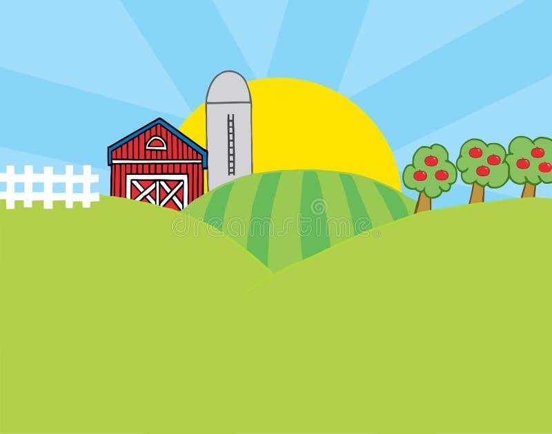 Het landbouwbedrijfscène van het land stock illustratie