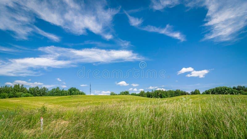 Het landbouwlandschap van de zomer een heuvelig gebied onder een blauwe bewolkte hemel royalty-vrije stock afbeelding