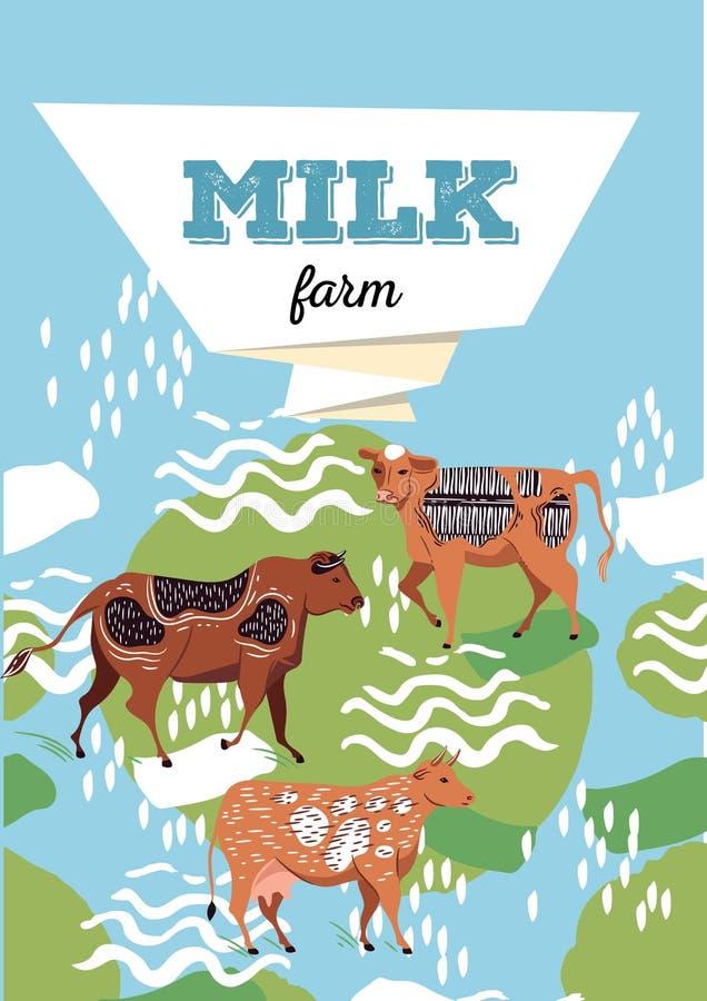 Het landbouwontwerp van de brochurelay-out Een voorbeeld van een achtergrond voor veelandbouwbedrijf geometrische samenstelling A royalty-vrije illustratie
