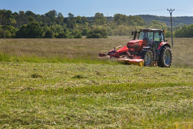 Het landbouwwerk Rode tractor die de weide, Tsjechische Republiek maaien Landbouwer geoogst hooi royalty-vrije stock afbeeldingen