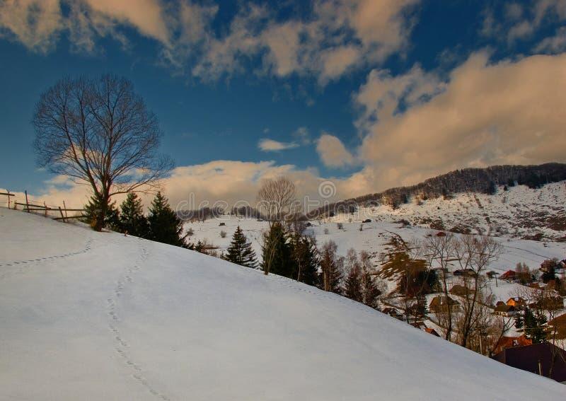 Het landelijke landschap van de Winter stock afbeeldingen