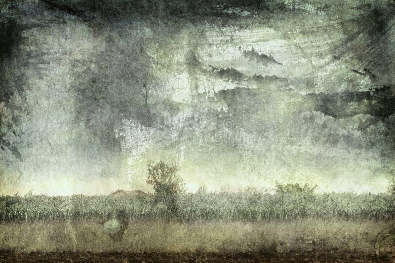 Het landelijke landschap van Grunge stock illustratie