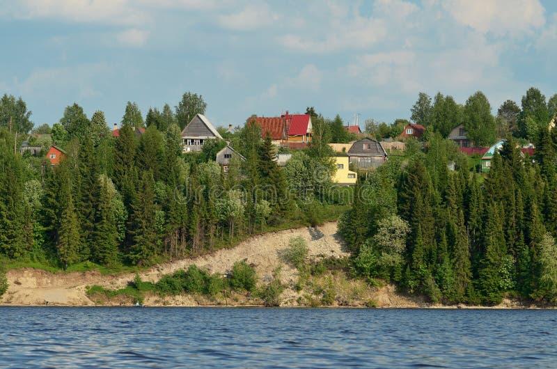 Het landelijke landschap van het dorp op de heuvel royalty-vrije stock foto