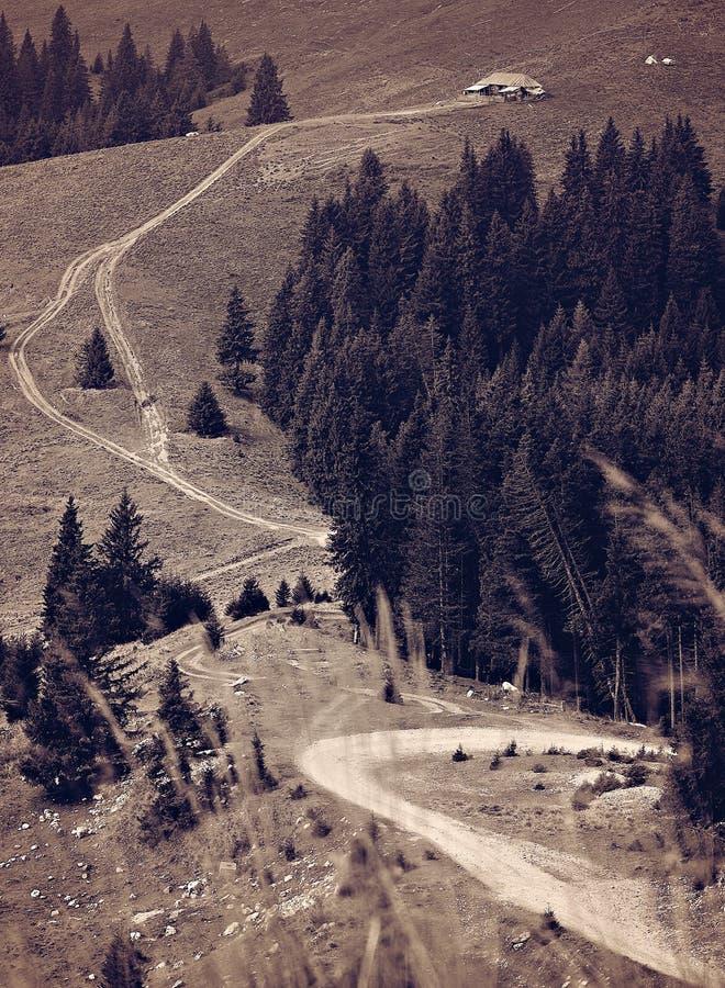 Het landelijke landschap van het huisplattelandshuisje mointain met landweg stock foto