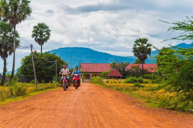 Het landelijke landschap van Kambodja stock afbeelding