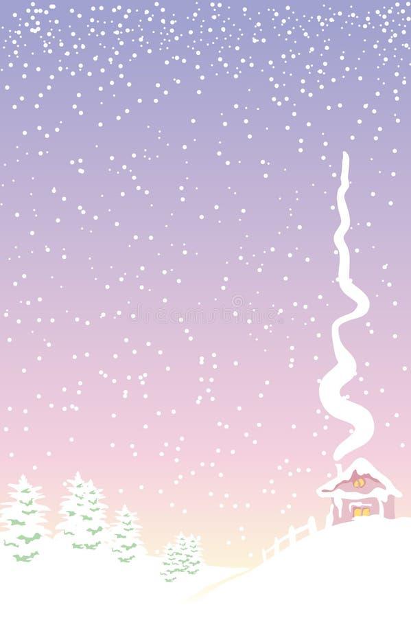 Het landelijke landschap van Kerstmis stock illustratie