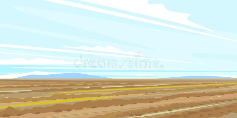 Het landelijke landschap van het ploeggebied vector illustratie