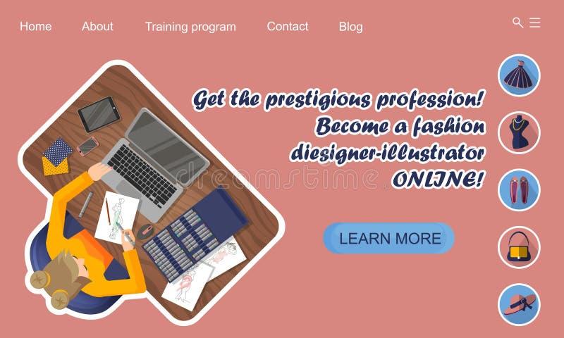 Het landen paginaontwerp Online Onderwijs De opleidende ontwerper-illustrator van de beroepsmanier online royalty-vrije illustratie