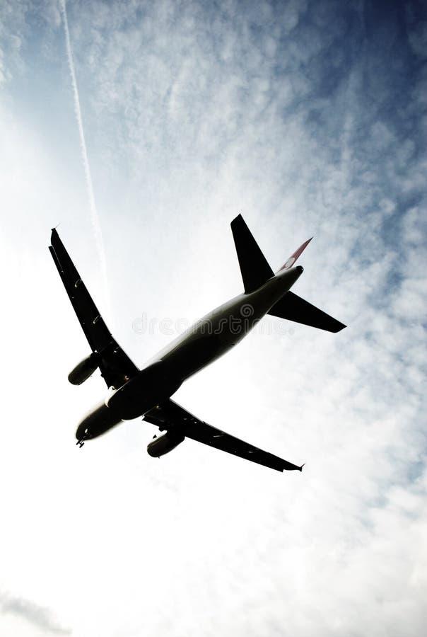 Het landen van het vliegtuig royalty-vrije stock afbeelding