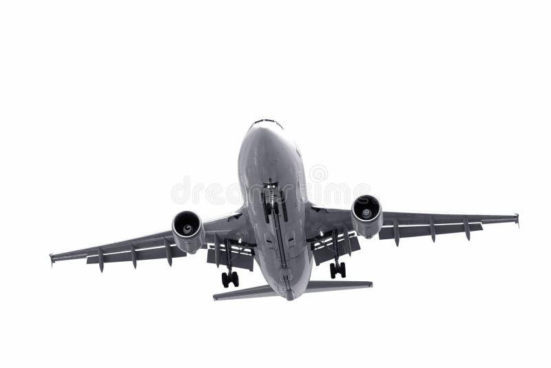 Het landen van vliegtuigen stock afbeeldingen