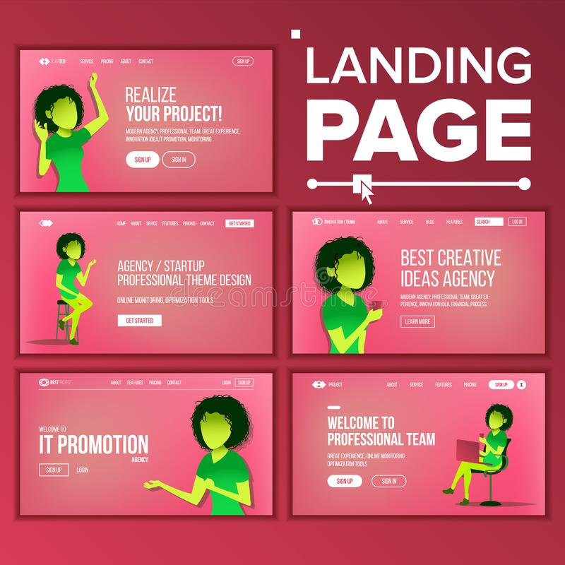 Het landen Vastgestelde Paginavector Commercieel Agentschap Web-pagina Ontwerp Front End Site Scheme Landend Malplaatje Coworking stock illustratie