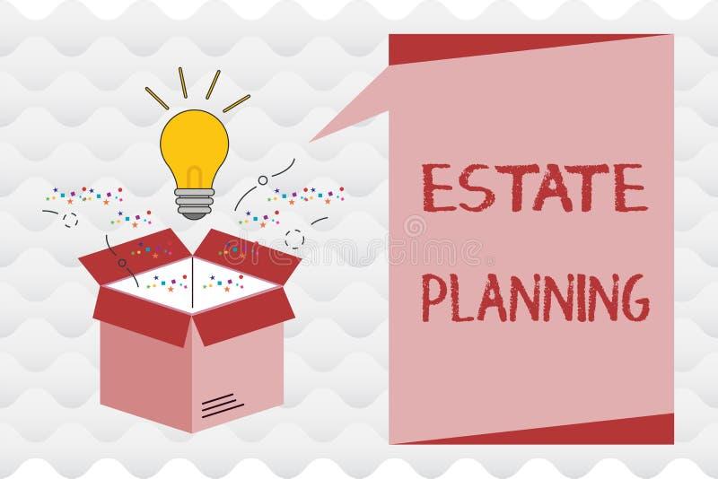 Het Landgoed van de handschrifttekst Planning Concept die het beheer en de verwijdering van het landgoed van die persoon betekene royalty-vrije illustratie