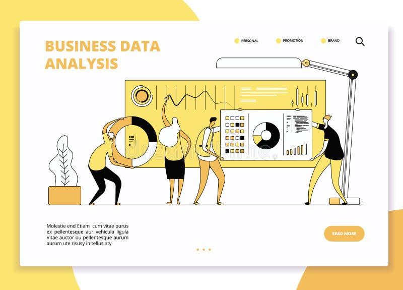 Het landingspagina van de gegevensanalyse Digitale op de markt brengende analisten die aan het dashboard van statistiekgrafieken  royalty-vrije illustratie