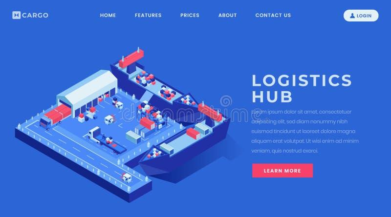 Het landingspagina vectormalplaatje van de logistiekhub Van de overzeese van de de websitehomepage vrachtindustrie de interfaceid royalty-vrije illustratie