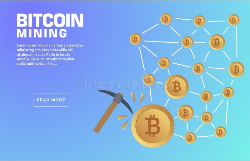 Het Landingspaginamalplaatje van de Bitcoinmijnbouw royalty-vrije illustratie