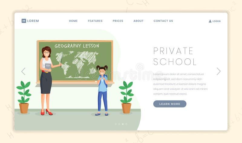 Het landingspaginamalplaatje van de particuliere schoolles De aardrijkskundeleraar verklaart continentenplaats aan leuk schoolmei stock illustratie