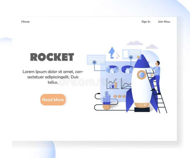 Het landingspaginaontwerpsjabloon van de bedrijfsraket vectorwebsite vector illustratie
