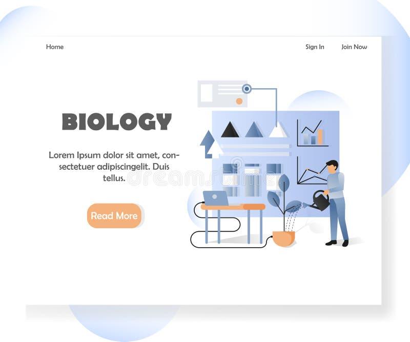 Het landingspaginaontwerpsjabloon van de biologie vectorwebsite vector illustratie