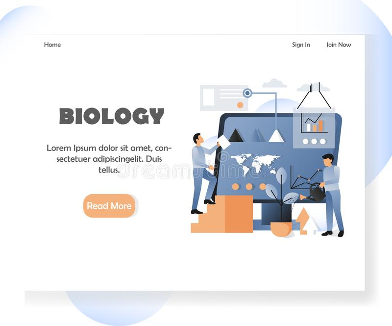 Het landingspaginaontwerpsjabloon van de biologie vectorwebsite royalty-vrije illustratie