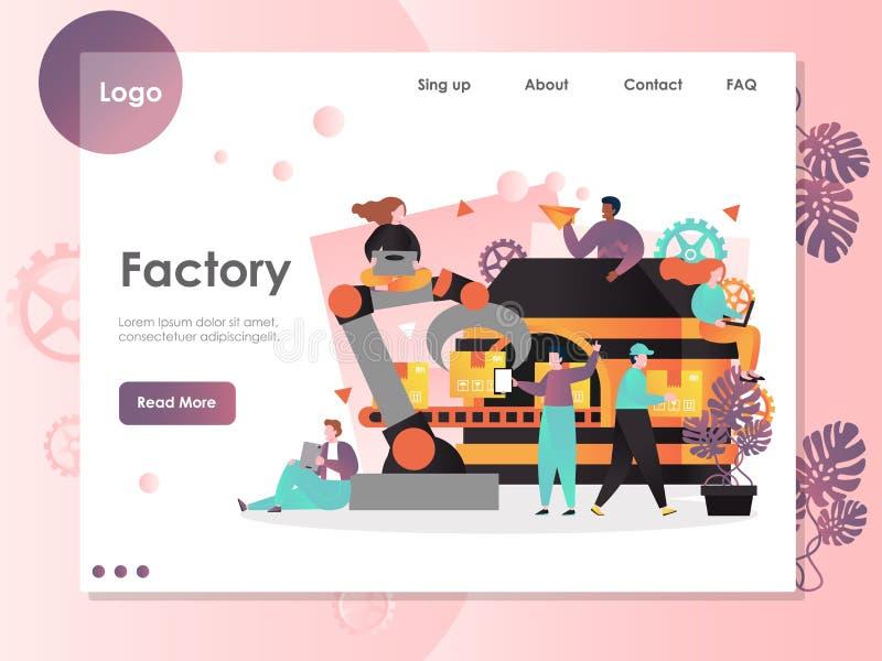 Het landingspaginaontwerpsjabloon van de fabrieks vectorwebsite vector illustratie